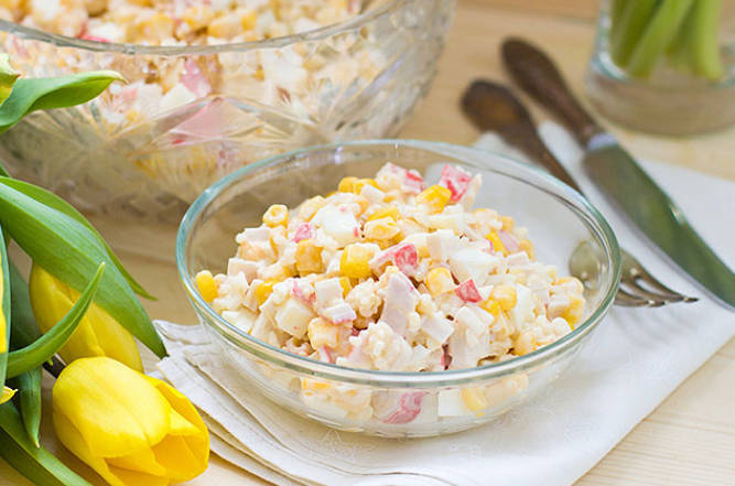 Crab Salad with Rice and Corn