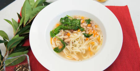 White Bean, Pasta and Spinach Soup