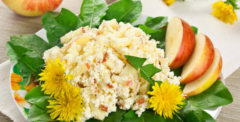Curd salad with apples and dandelions